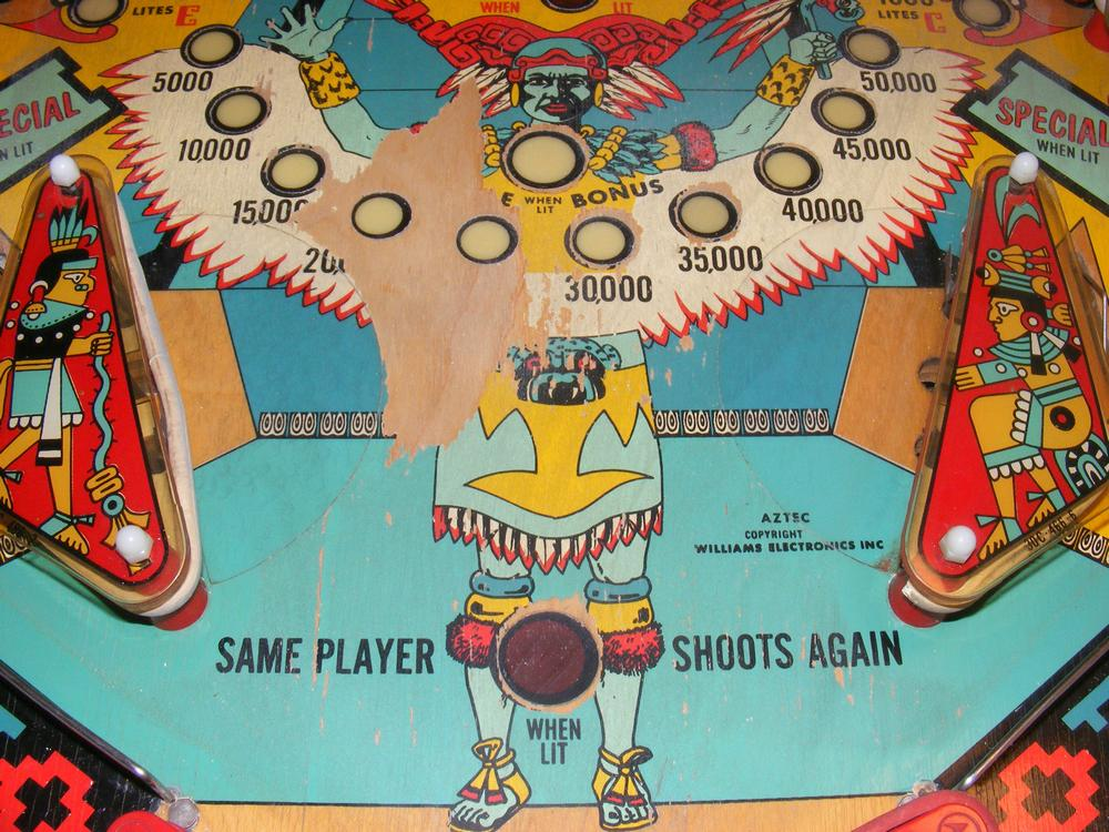 Williams 1976 Aztec Playfield Before Restoration