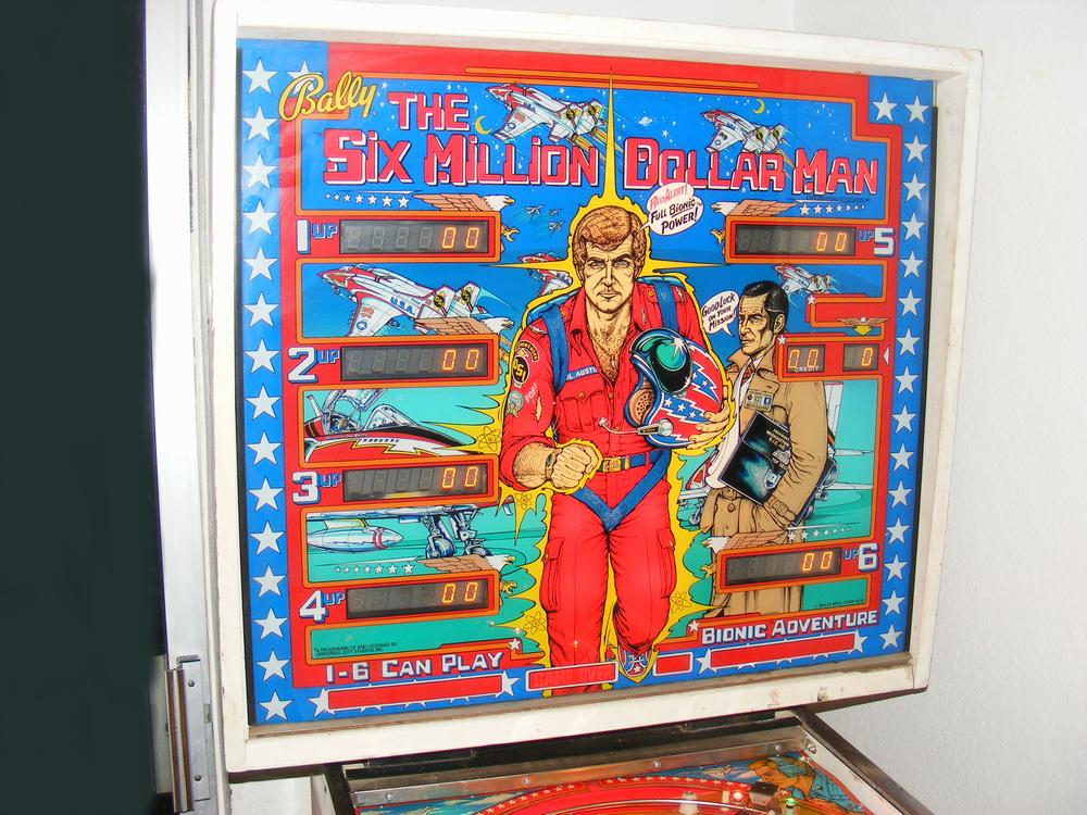 1978 Bally Six Million Dollar Man Six Player Backglass